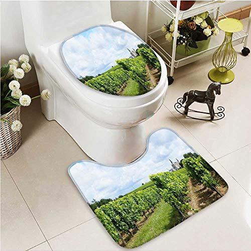 Printsonne 2 Piece Bathroom Mat Set The vineyard in the Bordeaux area Personalized ()