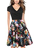 oxiuly Women's V-Neck Cap Sleeve Floral Casual Work Stretch Swing Dress OX233 (XL, Black Rose)