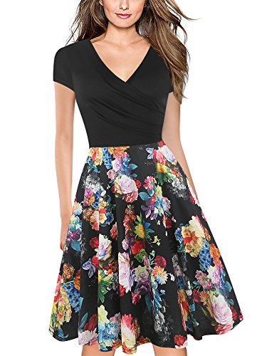 - oxiuly Women's V-Neck Cap Sleeve Floral Casual Work Stretch Swing Dress OX233 (S, Black Rose)