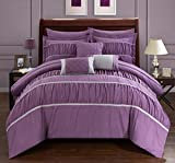 Plum Bedding and Curtain Sets Chic Home Cheryl 10 Piece Comforter Set Complete Bed in a Bag Pleated Ruched Ruffled Bedding with Sheet Set and Decorative Pillows Shams Included, Queen Plum