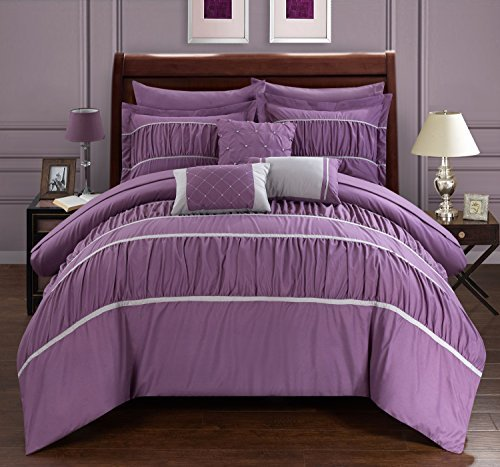 plum and gray quilt - 9