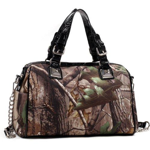 Realtree Camouflage Leather Like Satchel Bag Handbag w/ Bonus Strap - Black Croco Trim