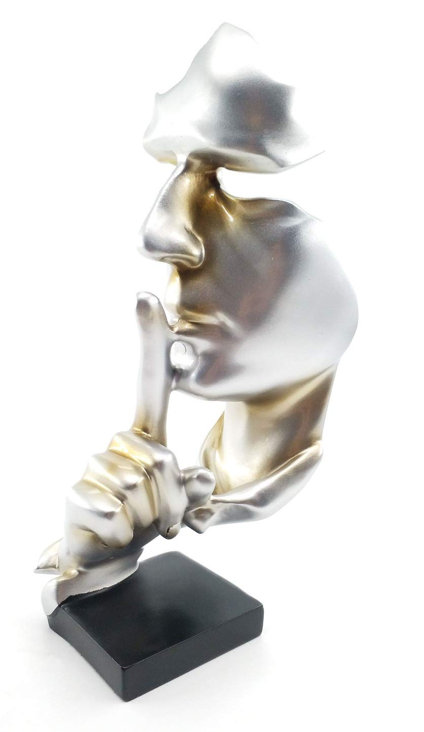 Modern Simple Faces Statue Sculpture,Hand Sculptures,Finger Sign Marks/Keep Silence (Silver)