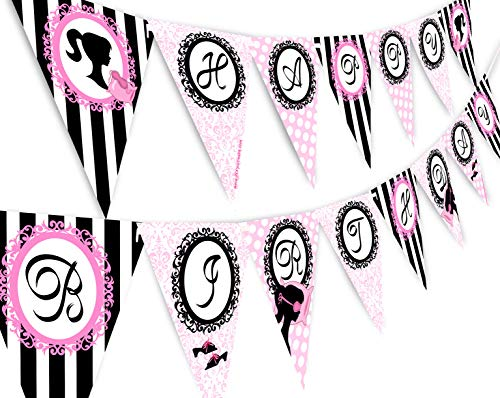 Pajama Glam Slumber Party Banner - Slumber Party Supplies - Slumber Party Decorations - Glamour Girl Happy Birthday Banner Pennant]()
