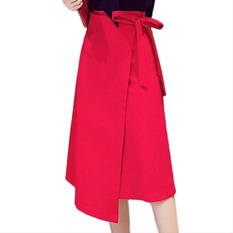 GDNTCJKY Faldas para Mujer Nueva Falda Elegante Falda Asimétrica ...