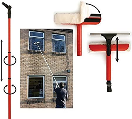 WINDOW CLEANING KIT WASHING SQUEEGEE CLEANER CONSERVATORY GLASS WASH TELESCOPIC