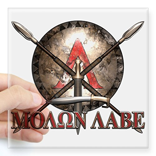 CafePress Molon Labe - Spartan Shield and Swords Sticker Square Bumper Sticker Car Decal, 3