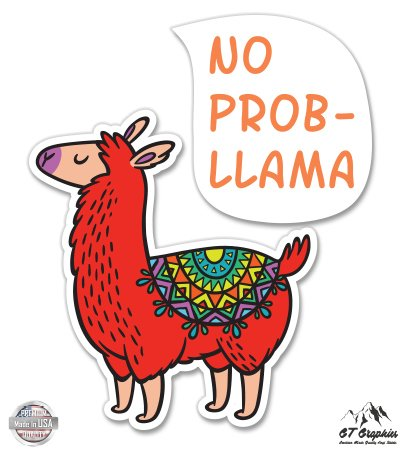 No Probllama Graphic Cute Llama Vinyl Sticker Waterproof