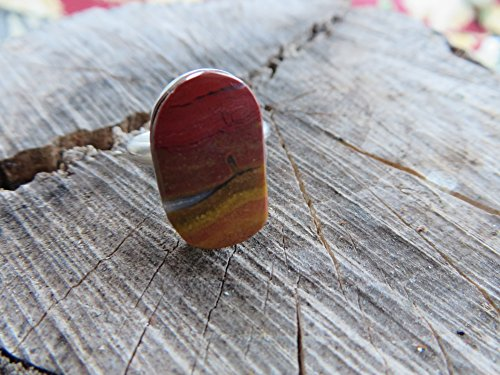 Jasper Cocktail Ring - Sterling silver ring, red and yellow stone, jasper, size 6 1/2, OOAK, handmade, stone ring, statement ring, cocktail ring, metalsmith