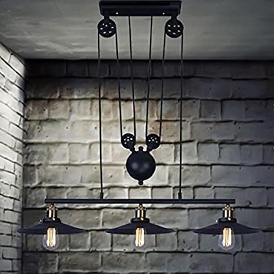 Coquimbo Rustic Home Decor Retro Pendant Retractable Chandelier Light Adjustable Lamp 3 Head Hanging light Loft Style Vintage Ceiling Lamps Fixtures Chandelier Without Bulb