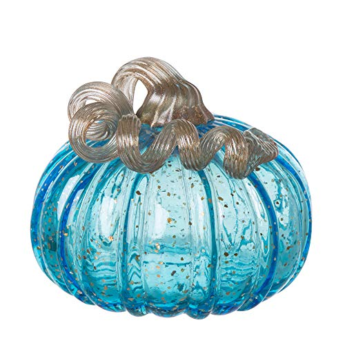 Glitzhome 1209002501 Hand Blown Blue Glitter Glass Pumpkin, 5.12 Inch, ()
