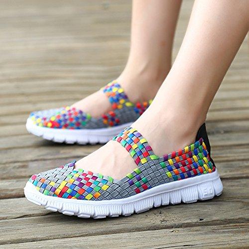 Des Gris Tissés Chaussures La Main Femmes Printemps Été De Chaussures Paresseux À Huateng Nouvelles 2018 Mode xwYqvq8Z