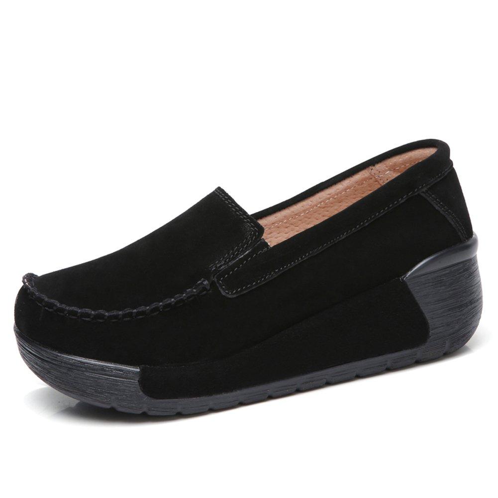 STQ-GF588heise40 Slip On Platform Loafers Women Comfort Low Top Suede Wedge Round Toe Moccasin Work Shoes Black 8 B(M) US