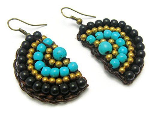 CHADADA CHADADA Handmade Jewelry Tribal Multi-Colored Beads Brass Drop Dangle Earrings (Black, Blue), ET14 price tips cheap
