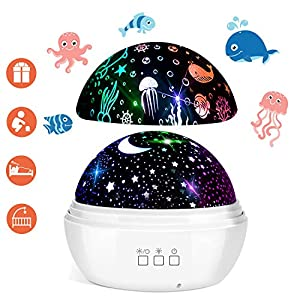 Star Projector, FishOaky 3 in 1 Star Ocean Night Light Projector 360°Rotating 8 Colors Mode Night Lights with USB Cable, Popular Toy Gifts for Kids Birthday Christmas