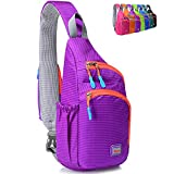 Peicees Small Crossover Travel Sling Bags Girls Sling Backpack Chest Crossbody Bike Gym Daypack Waterproof Shoulder Bag with Water Bottle Holder&Strap Pocket for Teens Kids Men and Women(Purple)