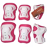 eNilecor Kid's Inline Skating Roller Blading Wrist Elbow Knee Pads Blades Guard Gift for Children's Day, Christmas Pack of 6 (Pink White)