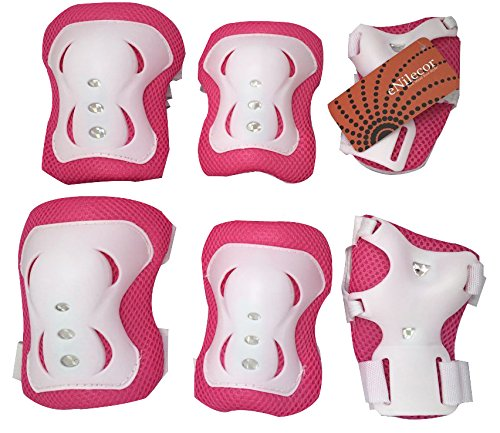eNilecor Kid's Inline Skating Roller Blading Wrist Elbow Knee Pads Blades Guard Gift for Children's Day, Christmas