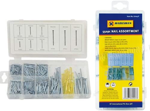 550PC con clavos surtidos de trabajo DIY PANEL brillante y herramientas carcasa con caja para mampostería: Amazon.es: Hogar