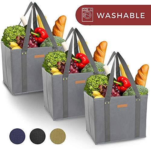 Reusable WASHABLE Grocery Shopping Cart Trolley Bags – set of 3 | Extra Long Handles, Spillover Proof, Eco-Friendly…