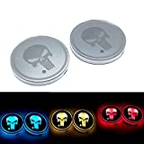 RUNMIND 2Pcs LED Car Cup Holder Mat Auto Interior Atmosphere RGB Colorful Light Girl Horse