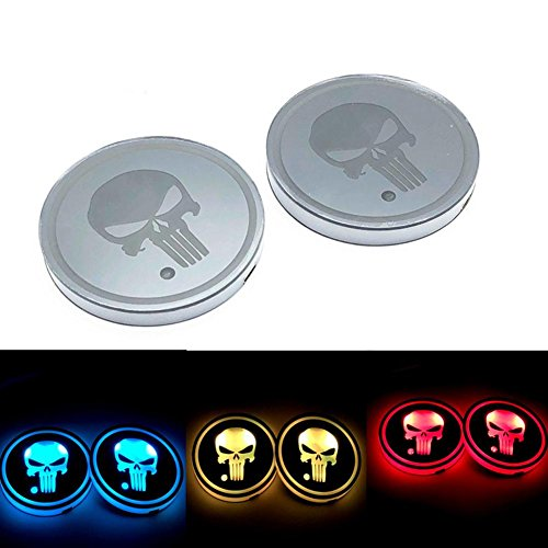 RUNMIND 2Pcs LED Car Cup Holder Mat Auto Interior Atmosphere RGB Colorful Light Girl Horse by RUNMIND