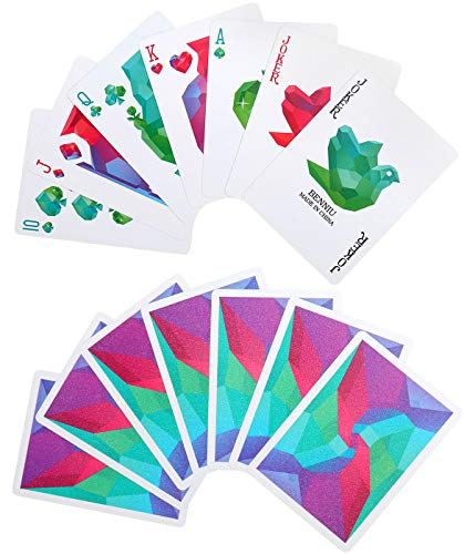 Joyoldelf Elegant Waterproof Poker with Diamond Pattern, PVC Colorful Back of Playing Cards with Delicate Plastic Gift Box, Great for Magic, Cardistry, Party and Game