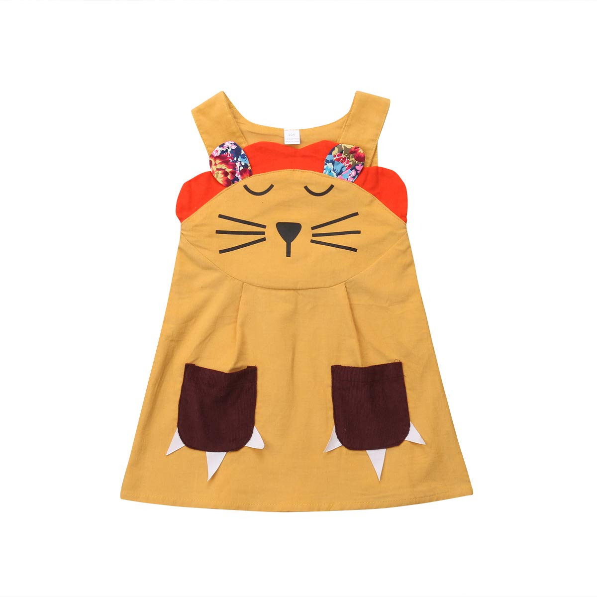 Lamuusaa Toddler Baby Kid Girl Cute Lion Sleeveless Dress Tank Top Princess Party Sundress with Pocket Halloween Costume