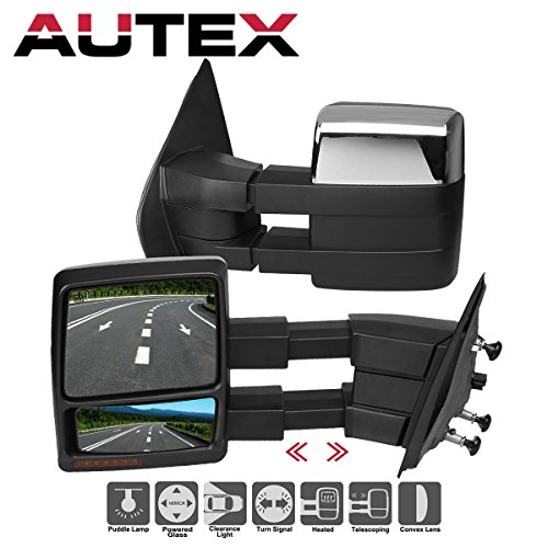 AUTEX Pair Chrome Towing Mirrors Power Heated Turn Signal Puddle Compatible With 2007 2008 2009 2010 2011 2012 2013 2014 Ford F150 Truck 9L3Z17682EC