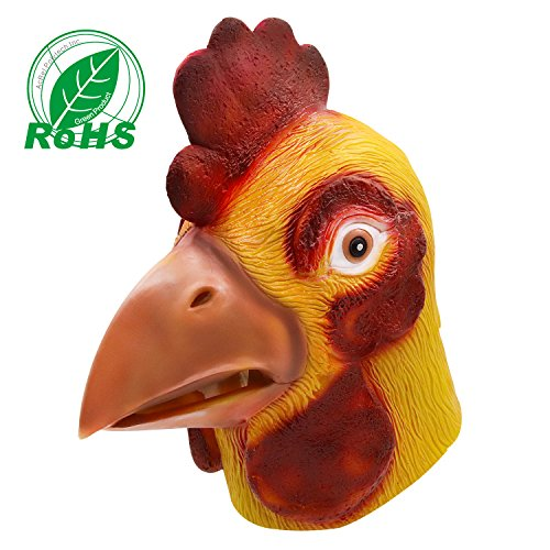 molezu Rooster Mask, Animal Mask Head, Halloween Novelty Deluxe Mask Costume Party Cosplay Latex Cock (Rooster Latex Mask)