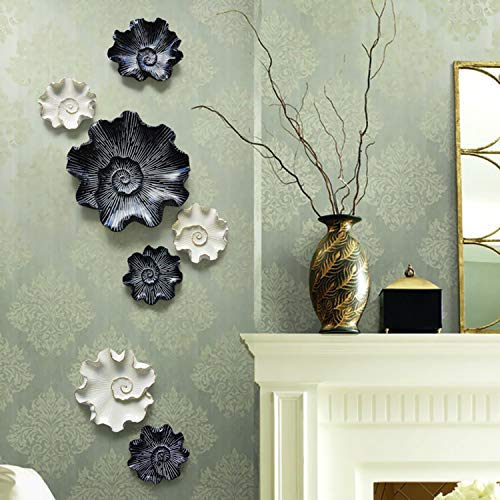 Lovescenario European Creative Lotus Leaf Wall Decoration Resin Material Living Room Stereo Wall Decoration Wall Hanging Jewelry Crafts ()