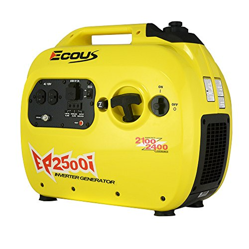 2400W Portable Inverter Generator with Parallel Capability, Gas Powered, EPA & CARB Compliant, Dual 120V AC Outlet/2 USB Ports, Generator Cover & Engine Oil Included (Yellow) (Engine Generator Cover)