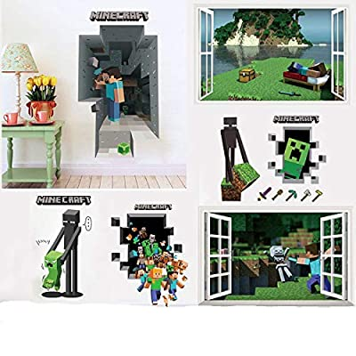 KitchEasy - Wall Stickers - Mosaic Game Theme Minecraft Wall Stickers for Kids Room Home Decoration 3D Window PVC Steve Mural Art DIY Boys Wall Decal Poster - 1 PCs