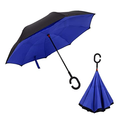 Umbrella Double Layer Pongee Fabric Adults Umbrellas Handle Car Umbrella Windproof Waterproof Useful,Coloured