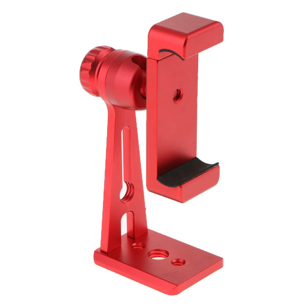 MagiDeal Ulanzi ST-04 Metal Mount Clamp Vertical Video Bracket Clip Holder Smartphone Stand Red