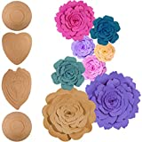 Jetec 2 Sets Rose and Peony Paper Flower Template Kit, Instruction Included, DIY Your Own Wall Backdrop Decoration Photo Booth Paper Flower Decoration, Make All Size Rose Peony Flower, Totally 23 Pcs