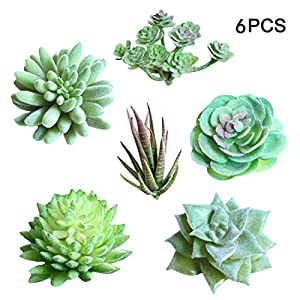 Idealcoldbrew 6 Pcs Artificial Succulent Plants, Realistic Fake Plastic Green Aloe Succulents Bundle, DIY Home Wall Garden Decoration Office Gifts 22