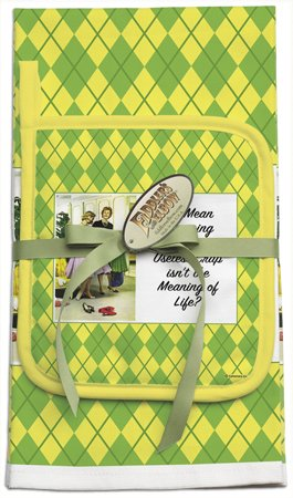Ephemera 'You Mean Shopping for More Useless Crap Isn't the Meaning of Life' Kitchen Towel and Pot Holder Set