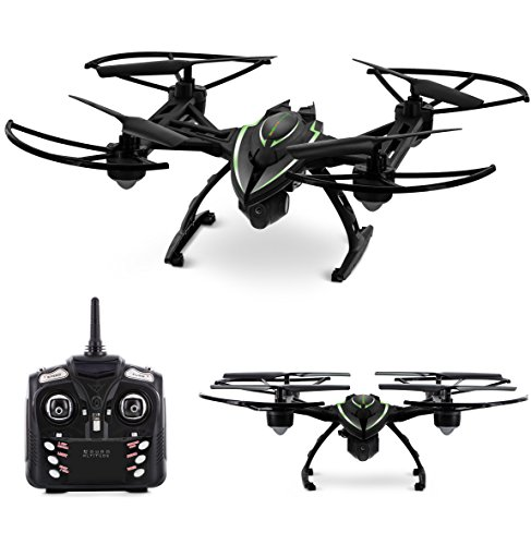 Aduro Altitude StealthBlazer Drone w/HD Camera to take picture & record 360° 3D Flips – 2.4 GHz Aerial Quadcopter & LCD Interface Remote Control, 3.7V600Ma Lithium Battery, Micro SD Slot