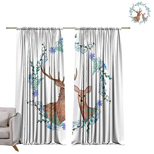 Blackout Curtains Deers in Love. Watercolor Coat of arms. Hand Painted Wedding Illustration with Floral Frame. W96 x L108 Grommet Window Drapes