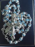 Blue Bead Metal Rosary. Traditional Catholic Rosary Bead. Our Lady Centre Piece.