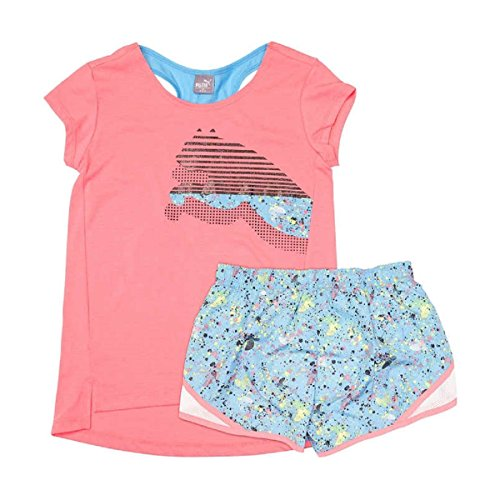 Puma 2 Piece Racerback Top & Short Set for Girls (Large / 12-14, Sunkist Coral)