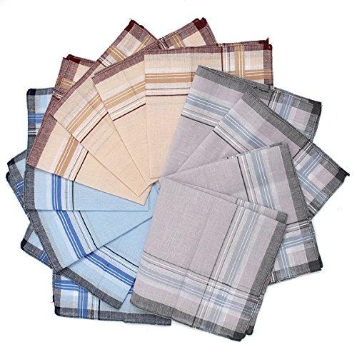 (SummerHome 12Pcs 36x36cm Mens Cotton Plaid Pocket Square Handkerchief Hanky For Wedding)