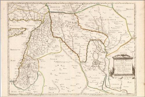 Poster Map Of Israel Mesopotamia Babylon 1651