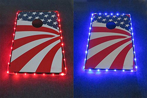 72 Light Led - Mixed Color Cornhole Edge Lights Led Lighting kit Last For 72+ Hours on 3 AA Batteries (1 Red,1 Blue)