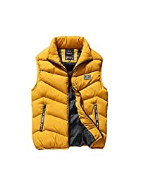 Maca.lina Men's Down Vest Warm Sleeveless Jacket Cotton Lightweight Zipper