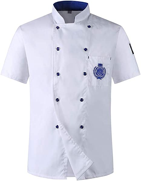 Chaqueta de Chef Unisex Capa Camisa Mangas Cortas Cocina Ejecutivo Camarero Mangas Corta Atavío Camiseta de Cocinero,Blanco,XL: Amazon.es: Deportes y aire libre