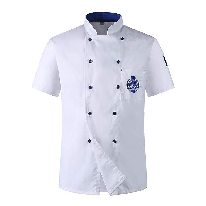 Chaqueta de Chef Unisex Capa Camisa Mangas Cortas Cocina Ejecutivo ...