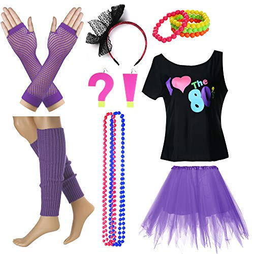 I Love The 80's T-Shirt Fancy Outfit Dress for 1980s Theme Party Supplies (S/M, Purple)