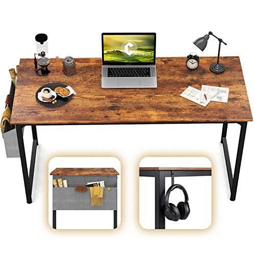 CubiCubi Computer Desk 47 Study Writing Table for Home Office, Industrial Simple Style PC Desk, Black Metal Frame, Rustic